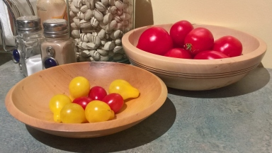 Still life with wooden bowls